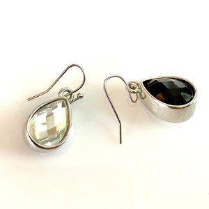 Reversible Clear Crystal & Black Earrings